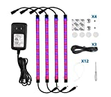 Sondiko Grow Light Strip Set 45w, Full Spectrum 4 Pack 17 Inches LED Grow Light with Power Adapter, Extension Cables, Mounting Accessories for Indoor Plants Greenhouse, Grow Shelf and More