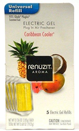 Renuzit Electric Gel Plug in Air Freshener, Caribbean Cooler, 0.68 Ounce (Pack of 6) Total 30 Refills by Renuzit