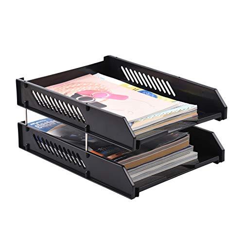 Fesjoy Organizador de Bandeja de Papel,Bandeja de Documentos, Organizador de Archivos de Escritorio, apilable, 2 Niveles, Bandeja para Cartas, Soporte para revistas, Accesorios de Escritorio