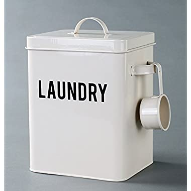 Laundry Detergent Powder Storage Tin Box, 4 FREE Mesh Bags, Laundry Room Decor, 9 Inch High, Cream