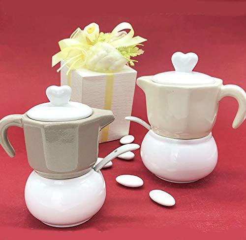 Set da caffè con zuccheriera e lattiera in ceramica completo di cucchiaino, assortito in 2 colori, bomboniere matrimonio originali, completo di scatola regalo (standard-senza confezionamento)