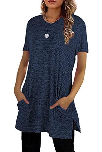 MAGIMODAC Sommer Tshirt Damen Shirt Lang Kurzarm Longshirt Basic Oberteile Tunika mit Taschen (Dunkelblau, 3XL, 3X_l)