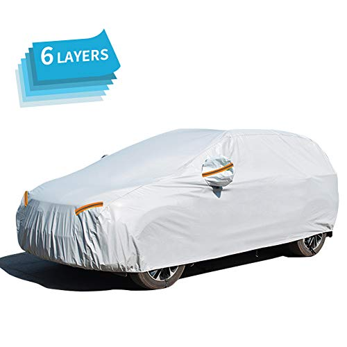 GES 6 Layers Car Cover, UV Protection Snowproof Waterproof Dustproof Full Car Covers with Zipper Cotton, Universal Fit for Sedan, SUV (Fit SUV/Jeep (190''-201''))