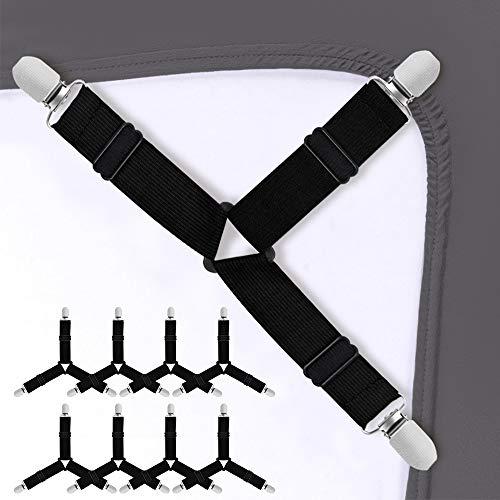 Sopito 8 STK Bettlakenspanner Einstellbar Bett Blatt Gurte Dreieck Elastisch Bettlakenhalter Gurte