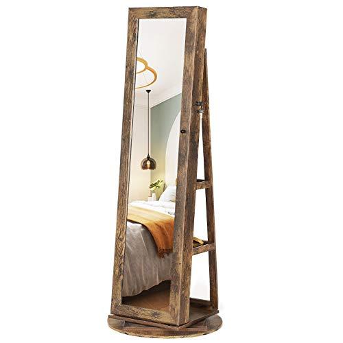 SONGMICS Armoire à Bijoux pivotante à 360°, avec Grand Miroir psyché, Organisateur de Bijoux verrouillable, avec Miroir intérieur, étagères de Rangement à larrière, Marron Rustique JJC062K01