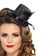 Ladies, complete your burlesque fancy dress costume with the Mini Top Hat This fancy dress accessory comes with black ribbon and feather A fun accompaniment to your dress-up costume Perfect for ladies Great for your next party!