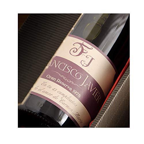 Regalo Personalizado: Botella de Vino con Etiqueta Personalizada con Iniciales, Nombre, año y dedicatoria