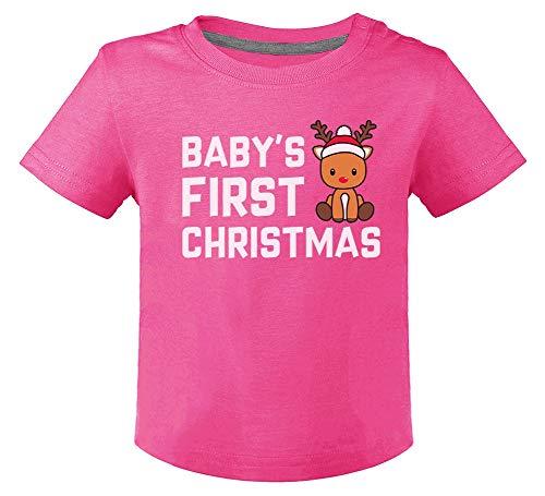 Green Turtle Camiseta para niños - Navidad Ropa Bebe con Reno Estampado Camiseta Navidad Bebé Mi Primera Navidad -Bebé 24M Fucsia
