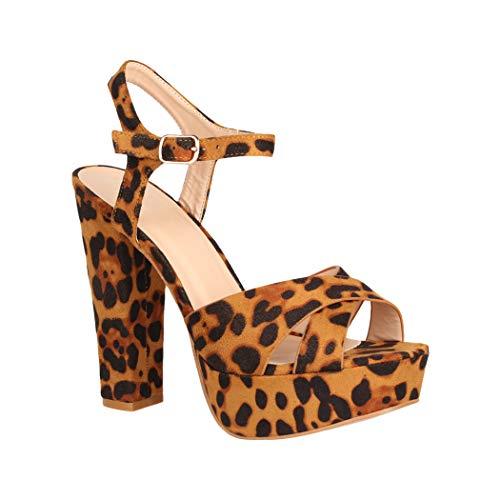 Elara Zapato de Tacón con Plataforma Mujer Punta Abierta Chunkyrayan Leopardo AT0985 Leopard-40