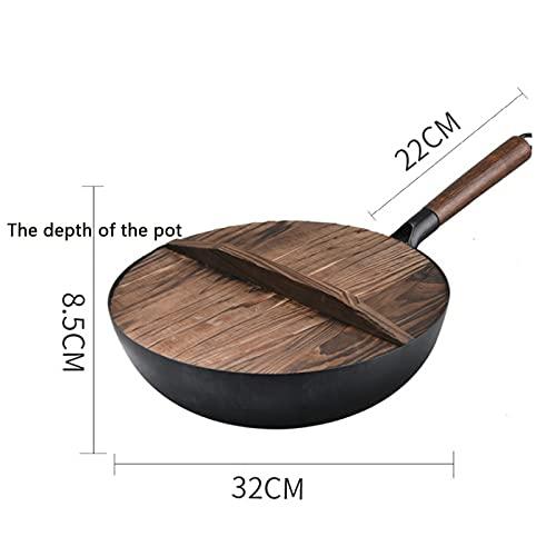 XDJ 32cm Acero Carbono Multifunción Wok, Tradicionalmente Martillado A Mano Pre-Quemado Wok, Tapa De La Olla De Madera Sin Recubrimiento Física Sartén Antiadherente, Apropiado Cualquier Estufa Negro