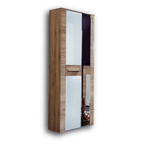 CONTEST X Garderobenschrank in San Remo Eiche Optik, Weiß - Moderner Flurgarderoben Schrank mit Spiegeltür - 65 x 197 x 36 cm (B/H/T)