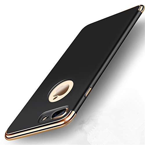 iPhone 7 Plus Case,Heyqie 3 in 1 Ultra-Thin 360 Full Body Anti-Scratch Shockproof Hard PC Non-Slip Skin Smooth Back Cover Case with Electroplate Bumper For Apple iPhone 7 Plus 5.5' - Black