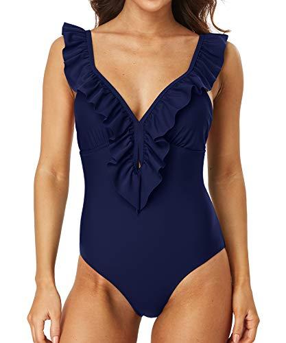 Sociala Womens Ruffle Plunge V Neck One Piece Bathing Suits Padded Monokinis Swimsuits(Large, Navy)