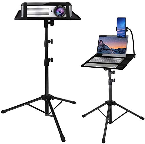Laptop Tripod, Laptop Stand Adjustable Height 17.7 to 47.2 Inch with Gooseneck Phone Holder, Portable Projector Stand Tripod, Detachable Computer DJ Equipment Holder Mount