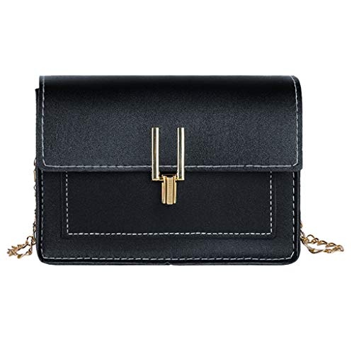 Btruely Schwarze Tasche Damen Mode Frauen Hasp einfarbig Kette Umhängetaschen Umhängetasche Phone Bag Handtasche Vintage Tasche Umhängetasche Schultertasche