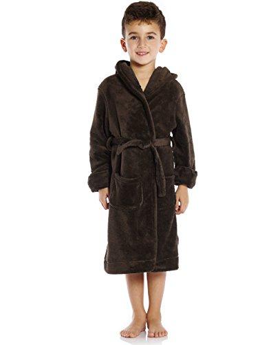 Leveret Kids Fleece Sleep Robe Coffee Size 10 Years