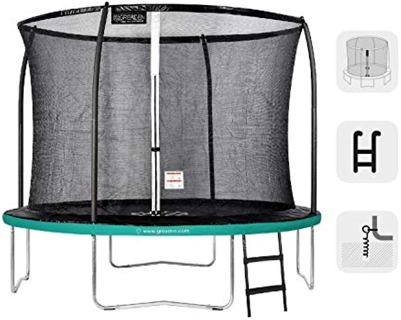 GREADEN Garden Trampoline Round Freestyle + Grün 305 Pack Medium + Skala + Anker-Set