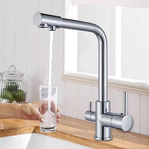 Rozin Chrom Küchenarmatur Trinkwasserhahn 3 Wege Wasser 360 Grad Schwenkauslauf Warmes und Kaltes 2 Griffe Messing Küche Wasserhahn für Wasserfilter