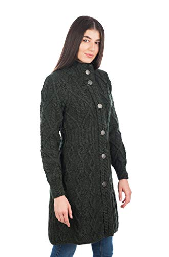 100% Merino Wool Aran Cable Long Knit Women Cardigan Coat with Celtic Knot Buttons (Army Green, Large)