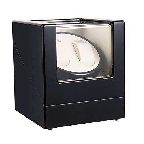 LJP Automático Cajas Giratorias para Relojes Madera Lujo Almacenamiento Caso para 2 Relojes Pulsera Impulsado por 100-240v Adaptador Corriente Alterna o Bateria