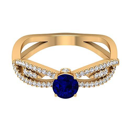 Anillo solitario de zafiro azul de 3/4 quilates, 1/4 quilates HI-SI diamante, anillo infinito de oro (5 mm de zafiro azul con forma redonda), 14K Oro amarillo, Size:EU 67