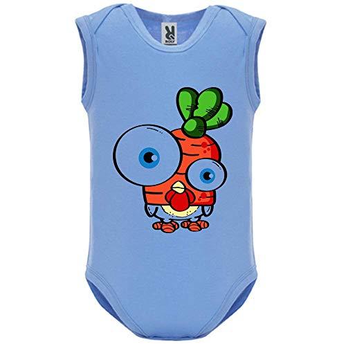 LookMyKase Body bébé - Manche sans - Big Eyes - Bébé Garçon - Bleu - 18MOIS