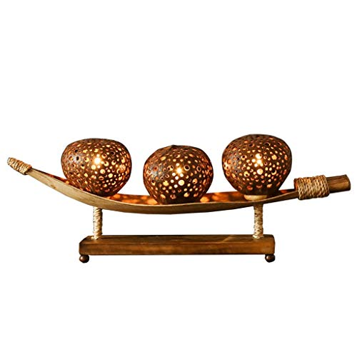 Lámpara de mesa de noche Tailandesa cáscara de coco estilo lámpara de noche hecho a mano, diseño oriental estado de ánimo de la lámpara retro-asiática de vivir decoración de la habitación independient
