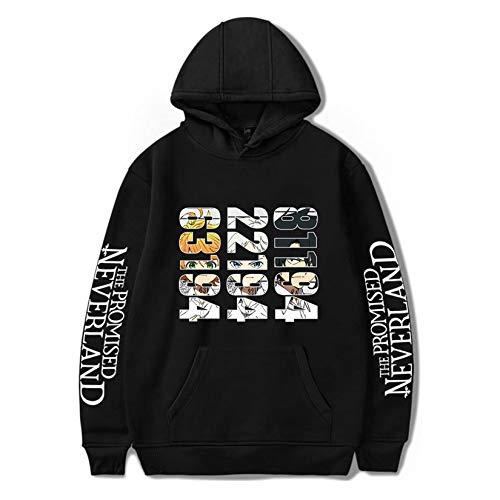 Novo moletom com capuz The Promised Neverland com números Emma Norman Ray suéter anime jaqueta masculina e feminina, Preto - 2, L