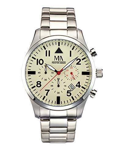 Meister Anker Herren Analog Uhr in Weiß mit Armband in Braun aus Textil