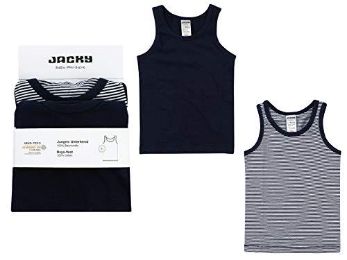 Jacky Jungen Unterhemden, 2er-Pack, Größe: 110/116, Alter: 5-6 Jahre, Schwarz/Weiß, 770070