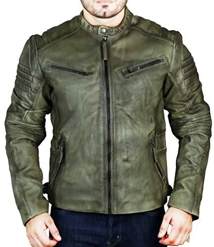 Superior Leather – Herren Biker Lederjacke gesteppt Cafe Racer Vintage Distressed Motorradjacke Gr. XXL - Brust (114 cm), olivgrün