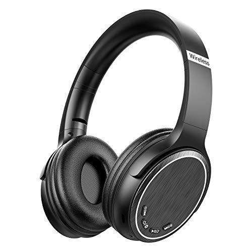 Cascos Bluetooth Inalámbrico, Macrourt Auriculares Bluetooth Cerrados de Diadema Plegable con Sonido Estéreo Bluetooth 5.0 TF Cancelación de Ruido Almohadillas de Protección Manos Libres con Microfono