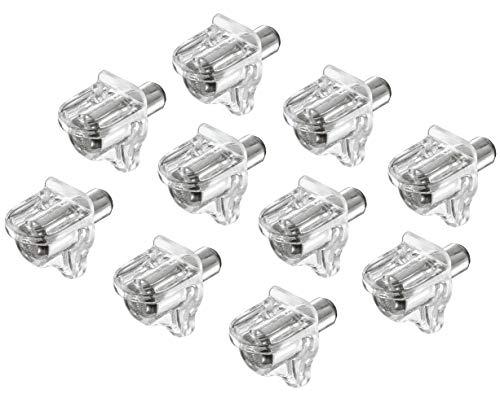 Gedotec Regal-Halterung Montage Regal-Halter Schrank Fach-Bodenträger zum Einbauen - H3105 | Kunststoff transparent | Bohrloch Ø 5 mm | 100 Stück