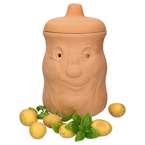 MamboCat Kartoffeltopf Terracotta Kartoffel-Behälter für ca 1500g Kartoffeln I Lustige Kartoffel-Aufbewahrungsbox Vorratsdose für Kartoffeln I Küchen Vorratsbehälter Kartoffeln mit Deckel