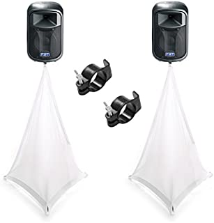(2) Scrim King SS-SPK03W White Triple Sided Speaker Stand Scrim & (2) SS-CLP01 Clamp Bundle