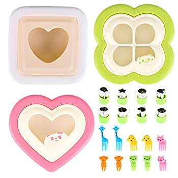 Sandwich Cutter and Sealer,21 piece set,Fun Sandwich Cutters for Kids,Cut and Seal Decruster Sandwich Maker Shapes,Includes Fruit and Vegetable Cutters Food Picks,Boys and Girls Easy to Use  green