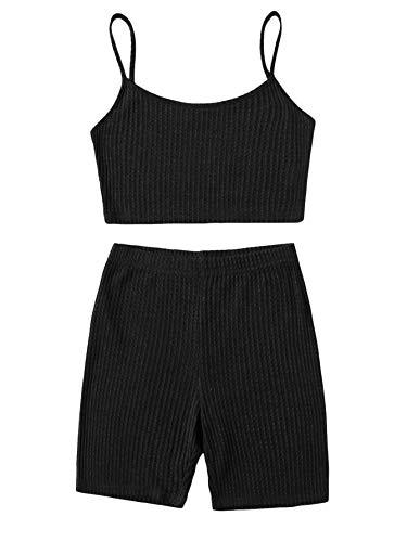 SOLY HUX Pantalones cortos y tops para mujer, 2 piezas, tirantes finos, parte inferior de la barriga, pantalones cortos, traje de casa, conjunto de 2 piezas Negro XS