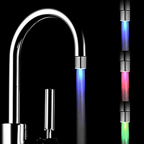 Gugutogo Magic 3 colori RGB Glow LED luce rubinetto dell'acqua Sensore di temperatura controllata Tap con rubinetto Valvola deviatore adattatore Cambia colore (Colore: Argento)
