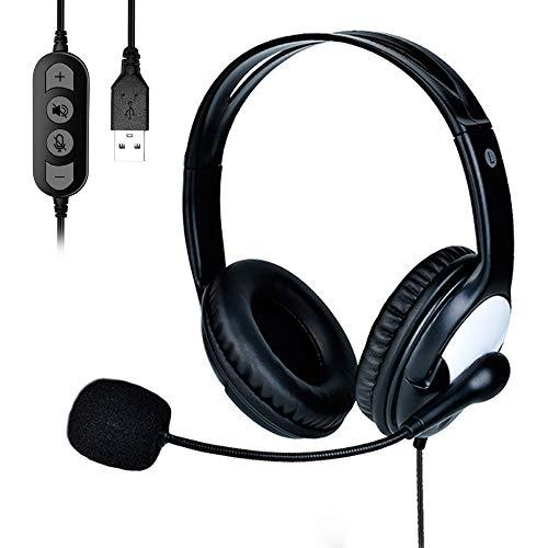 USB-Computer-Headset, leichtes PC-Headset mit Mikrofon, Geräuschunterdrückung, kabelgebundene Kopfhörer, Business-Headset für Skype Webinar Handy Call Center, klares Chat, Ultra Komfort