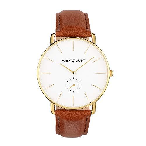 Robert Grant Armbanduhr mit Echt Lederarmband - Edelstahl, Mineralglas, Universal, Damen u. Herren Uhr - Leder Armband in Cognac - Gold 40 mm