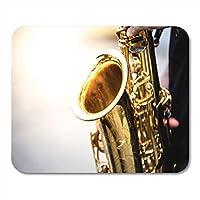 マウスパッドフォーカスフォーカスサックス奏者ジャズ音楽でサックスを演奏ノートブック、デスクトップコンピューターマットオフィス用品用マウスパッド