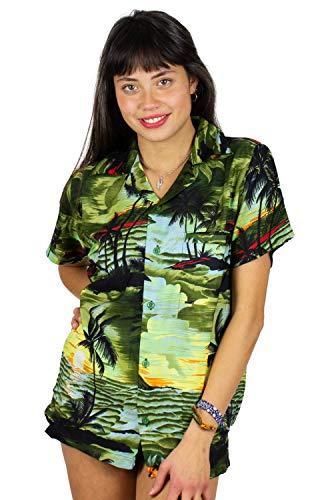 V.H.O. Funky Hawaiibluse, Hawaiihemd, Kurzarm, Surf, Dunkelgruen, M