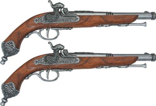 Denix Erwachsene Deluxe Box 2 Doppel Pistolen Gefälschte Waffenreplik, schwarz, One Size