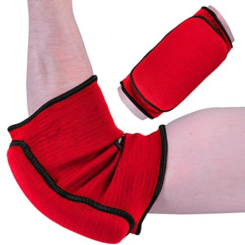 M.A.R International Ltd. Ellenbogenschoner aus elastischem Stoff, für Kampfsport, Karate, Taekwondo, Boxen, Kickboxen, Thaiboxen, Muay Thai, Rot, Größe S/M