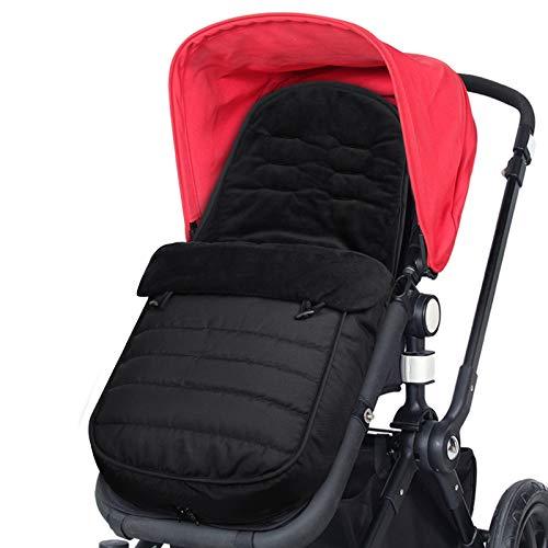 WD&CD Fußsäcke für Kinderwagen, Baby WinterFußsack für Kinderwagen mit Fleece Gefüttert, Wasserdicht und Winddicht für Babyschale, Sportwagen, Buggys - Schwarz