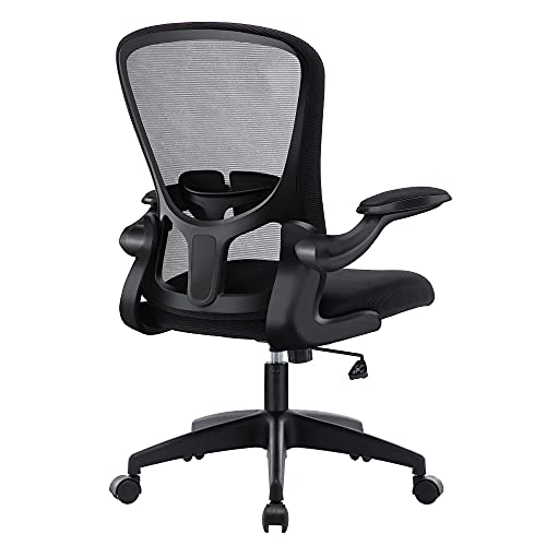 HOMIDEC Office Chair,Ergonomic Desk Chair with Flip-up Armrest,Lumbar Support Rocking Computer Chair for Home,Breathable Mesh Back and Adjustable Height (Black)