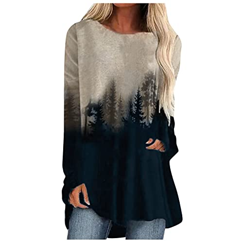 Lovor Fall Tops Tunics for Women to Wear with Leggings, Casual Loose Fit O Neck Long Sleeve Gradient Print T Shirt Sweatshirt(C Brown,XXL)