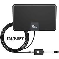 Antena de TV, 1byone Antena de HDTV para Interiores con excelente Rendimiento para TDT Digital y señales de TV analógicas, VHF/UHF/FM, Antena de Ventana, Diseño Suave con Amplificador de señal