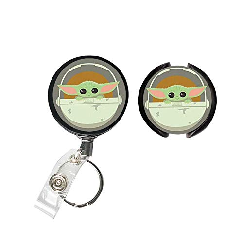 Two Combinations- Retractable ID Card Badge Holder with Alligator Clip, Boba Fett Office Employee Name Badge Space Print Stethoscope Tag, Nurse Doctor Stethoscope ID Tag (for Baby -Yoda)