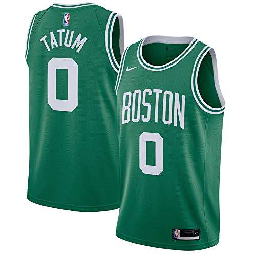 Nike Jayson Tatum Boston Celtics NBA Boys Youth 8-20 Green Home Icon Edition Dri-Fit Swingman Jersey (Youth Large 14-16)